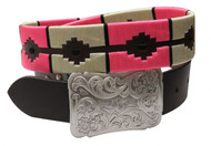 Showman Couture ™  pink and cream wrap embroidered belt.