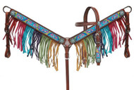 "Showman ® PONY SIZE  "" Rainbow Pony"" headstall and breast collar set."