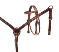 Showman® Pony Size Medium leather headstall and breast collar set with silver studs.