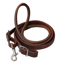 Showman ® 7ft heavy oiled harness leather contest rein with rolled center.