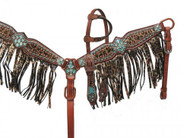Showman® PONY SIZE Bejeweled metallic leopard print headstall and breast collar set.