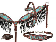 Showman ® Antique inspired print overlay headstall, breast collar and wither strap set with pearl fringe.