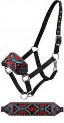 Showman ® Beaded bronc nose halter with copper studs.