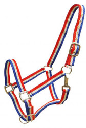 Showman® Red, white and blue striped nylon halter.