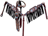 Showman ® Aligator print one ear headstall and breast collar set.