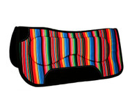 "Showman ® 31"" x 32"" x 18mm Serape print saddle pad with black wear leathers."
