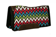 "Showman ® 34"" x 36"" x 3/4"" memory felt saddle pad with woven wool Chevron design top."