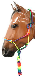 Rainbow colored cowboy knot halter with lead.