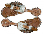 Showman ® floral tooled spur straps.
