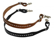 """Showman ® 1.25"""" wide leather wither strap with crystal studs."""