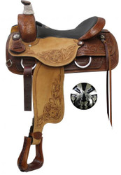 "16"", 17"" Double T  Roper Style Saddle with Cross Guns Conchos."