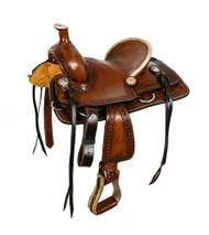 "12""Double T hard seat roper style saddle with aztec design tooling."