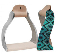 Showman ® Lightweight twisted angled aluminum stirrups with shimmering teal Navajo print.