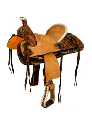 "10"" Double T hard seat roper style saddle with floral tooling."