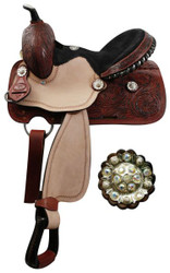 "13"" Youth Double T barrel saddle with fully tooled pommel, skirts and cantle."