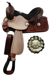 "12"" youth Double T barrel saddle with fully tooled pommel, skirts and cantle."