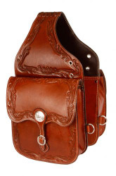 Showman ® Acorn tooled leather saddle bag.