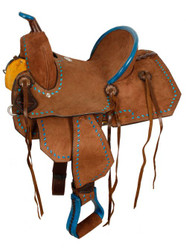"12"" Double T Youth/Pony Chocolate Roughout Barrel Saddle with turquoise buckstitch."