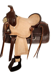 "12"" Double T hard seat roper style saddle with basketweave tooling."