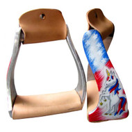 Showman ® Pony/Youth polished aluminum stirrup with red, white, and blue unicorn overlay.
