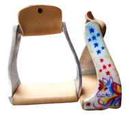 Showman ® Pony/Youth polished aluminum stirrup with multi colored unicorn and star print.