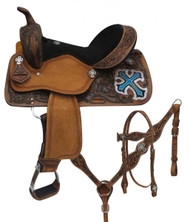"14"", 15"", 16"" Double T  barrel style saddle set with metallic cross."