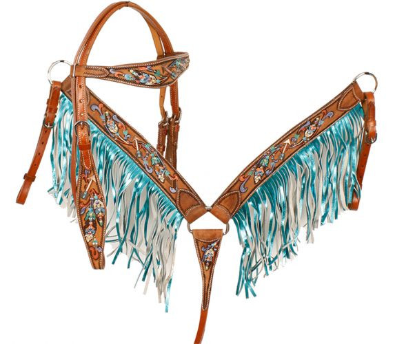 36709147198f Showman ® Metallic painted feather and arrow browband headstall ...