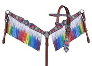 Showman ® Rainbow tie dye headstall and breast collar set