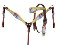 Showman ® PONY SIZE Unicorn print headstall and breast collar set.