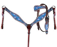 Showman ® PONY SIZE Rainbow Unicorn print headstall and breast collar set.