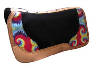 Showman ® Argentina cow leather saddle pad with tie dye overlay.