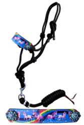Showman ® Pony Rainbow Unicorn cowboy knot rope halter.