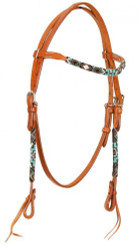Showman ® Beaded one browband headstall. Headstall is made of Argentina leather. .