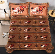 Queen Size 3 pc borrego comforter set with Geometric Running Horses.