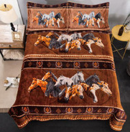 Queen Size 3 pc Borrego comforter set with geometric horse collage design.