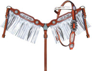 """Showman ® Pony Size  Silver Metallic """"I Love My Pony"""" Browband headstall and breast collar set"""