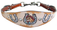 Showman ® PONY SIZE  Distressed Horseshoe print wither strap.