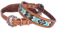 Showman Couture ™ Beaded inlay leather dog collar w/copper buckle. ..