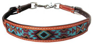 Showman ® Medium leather wither strap with navajo design inlay.