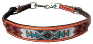 Showman ® Medium leather wither strap w/navajo design inlay.