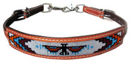 Showman ® Medium leather wither strap with beaded Native American Thunderbird inlay.
