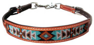 Showman ® Medium leather wither strap with navajo design inlay...