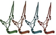 Horse size diamond braided cowboy knot rope halter with removable lead.