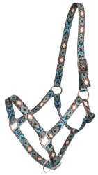 Showman® Premium Nylon Horse Sized Halter with Cross and Diamond Design