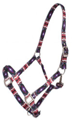 Showman® Premium Nylon Horse Sized Halter with Black and Purple Diamond Design.