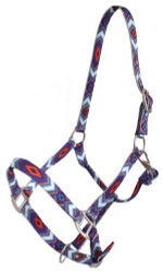 Showman® Premium Nylon Horse Sized Halter with Purple and Red Diamond Design.