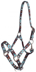 Showman® Premium Nylon Horse Sized Halter with Geometric Design.