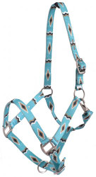 Showman® Premium Nylon Horse Sized Halter with Turquoise and Gold Diamond Design.