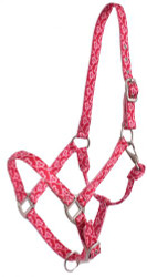 Showman® Premium Nylon Horse Sized Halter with Pink Heart Design.
