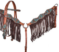Showman ® Turquoise and Brown Floral Tooled browband headstall and breast collar set.